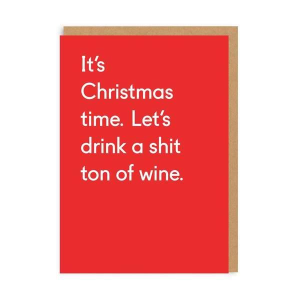 Sh*t Ton Of Wine Christmas Card
