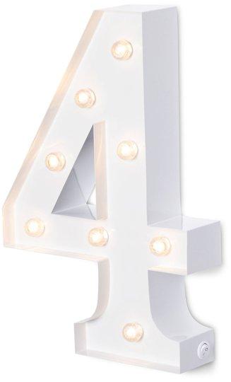 Alice & Fox Bokstavlampe Siffer 4, Hvit