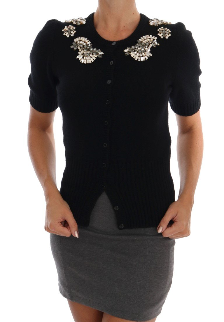 Dolce & Gabbana Women's Cashmere Crystal Cardigan Black TSH1222 - IT38 XS
