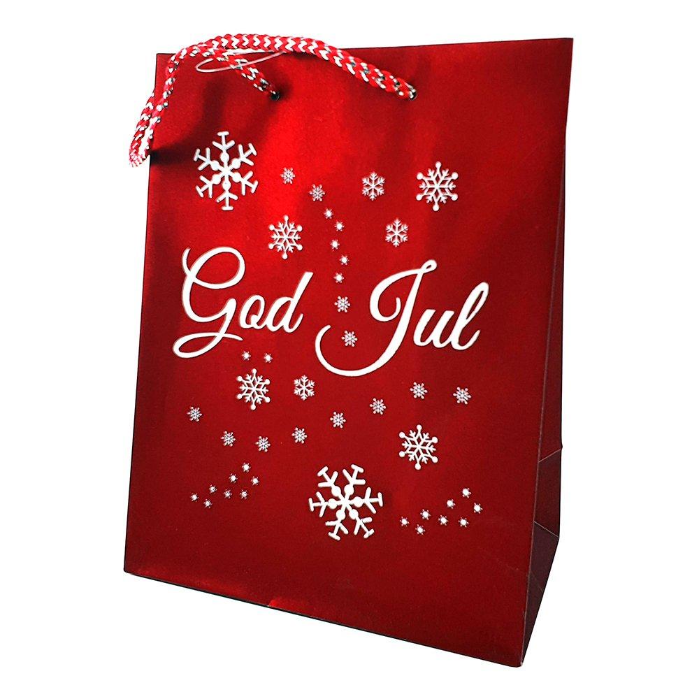 Julpåse God Jul Röd Glitter - Mellan