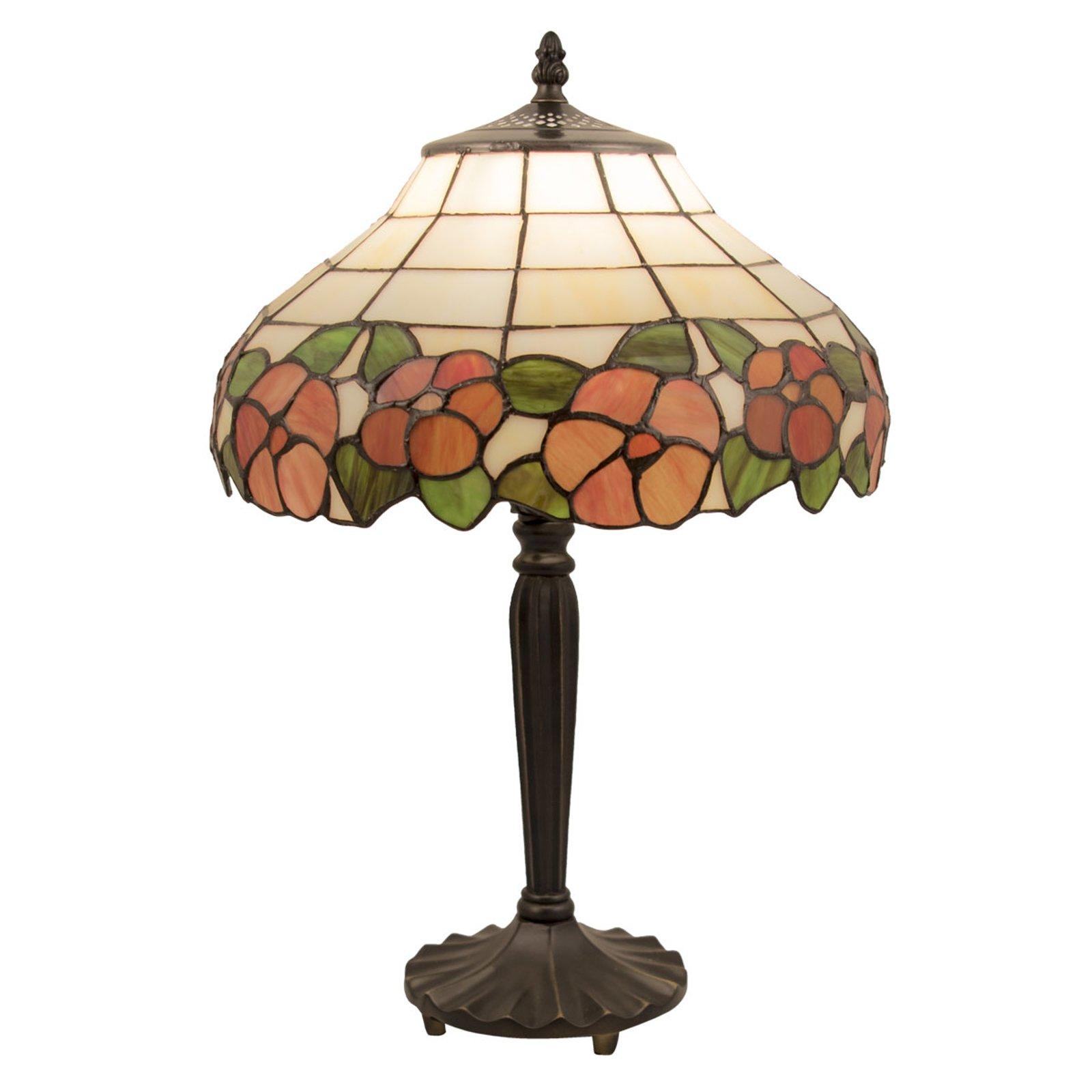 5941 bordlampe med blomstermotiv i glasskjerm