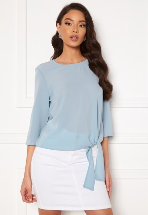 ONLY Nova Lux 3/4 Knot Top Solid Blue Fog 36