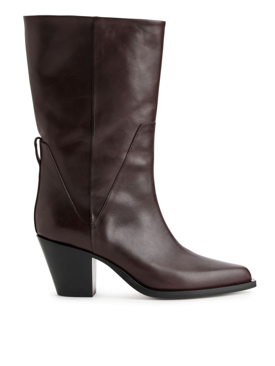 Leather Cowboy Boots - Brown