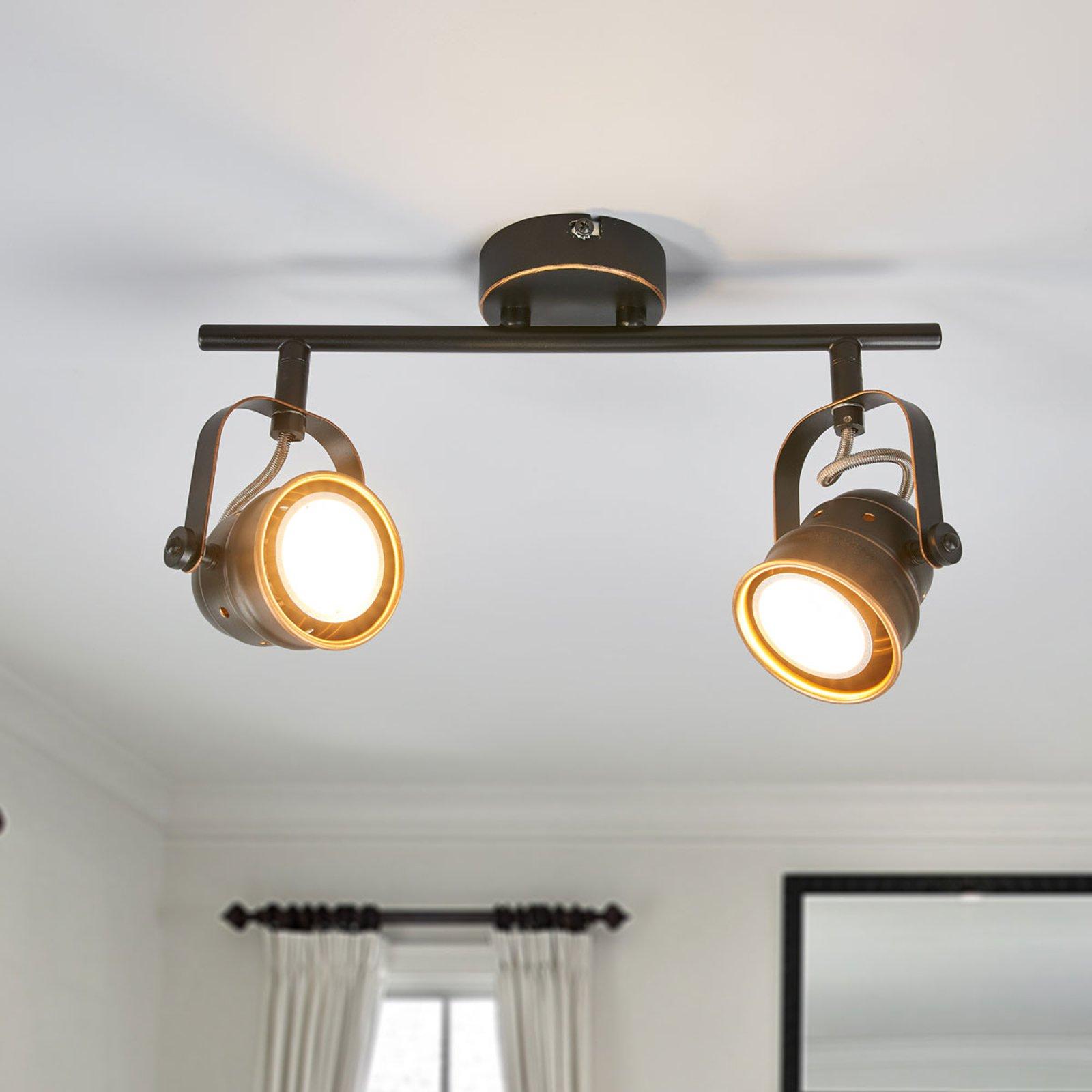 GU10 LED-taklampe Leonor, svart og gylden