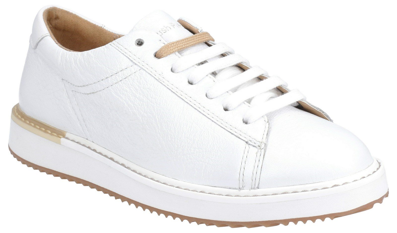 Hush Puppies Women's Sabine BouncePLUS Lace Up Trainer Various Colours 29235 - White Leather 3