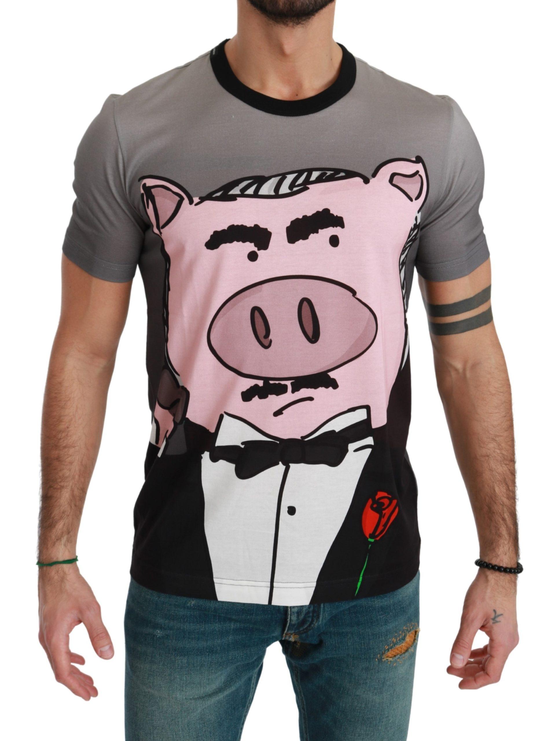 Dolce & Gabbana Men's Cotton Pig T-Shirt Gray TSH4551 - IT44 | XS