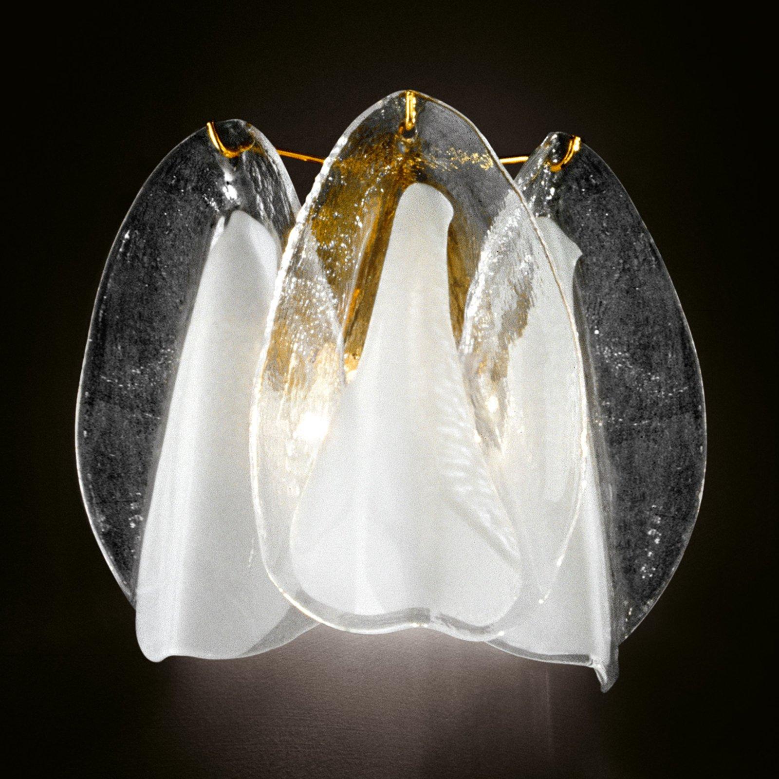Glass-vegglampe Rondini med 24 karat gull
