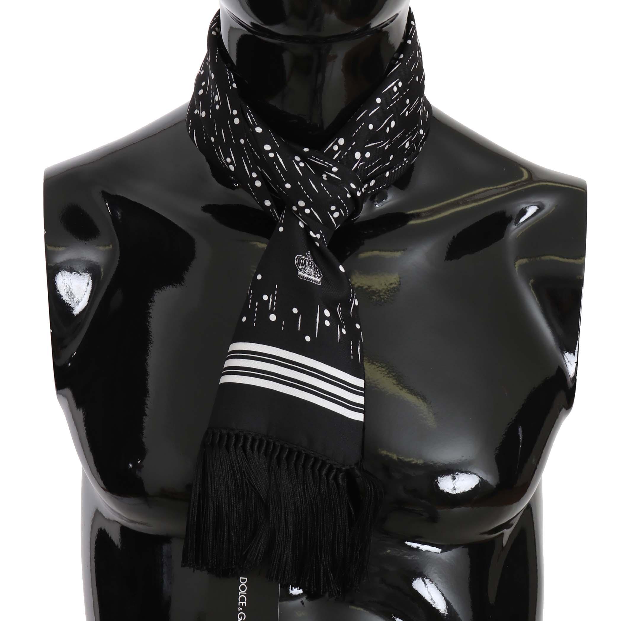 Dolce & Gabbana Men's Dots Print Silk Tassel Scarf MS5110