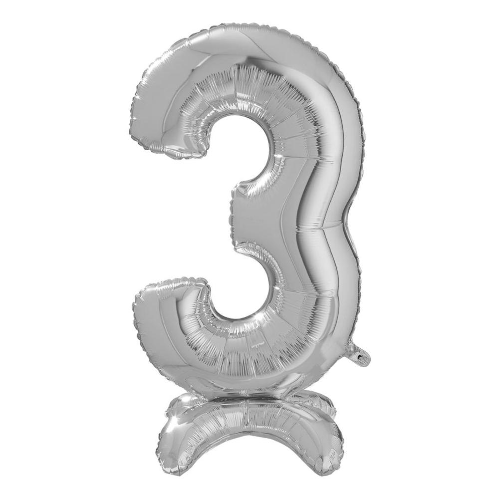 Sifferballong med Ställning Silver - Siffra 3