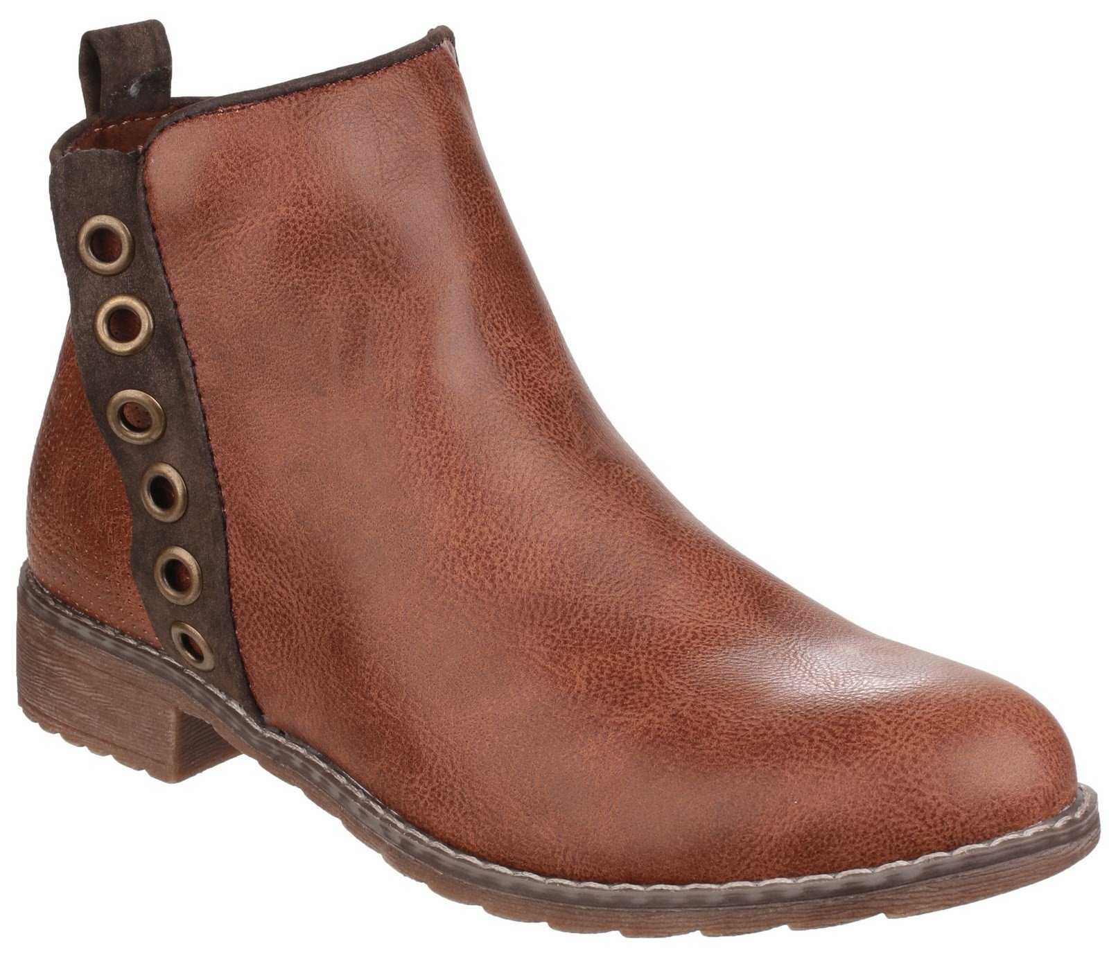 Divaz Women's Demi Pull On Ankle Boot Brown 24274-40026 - Tan 3