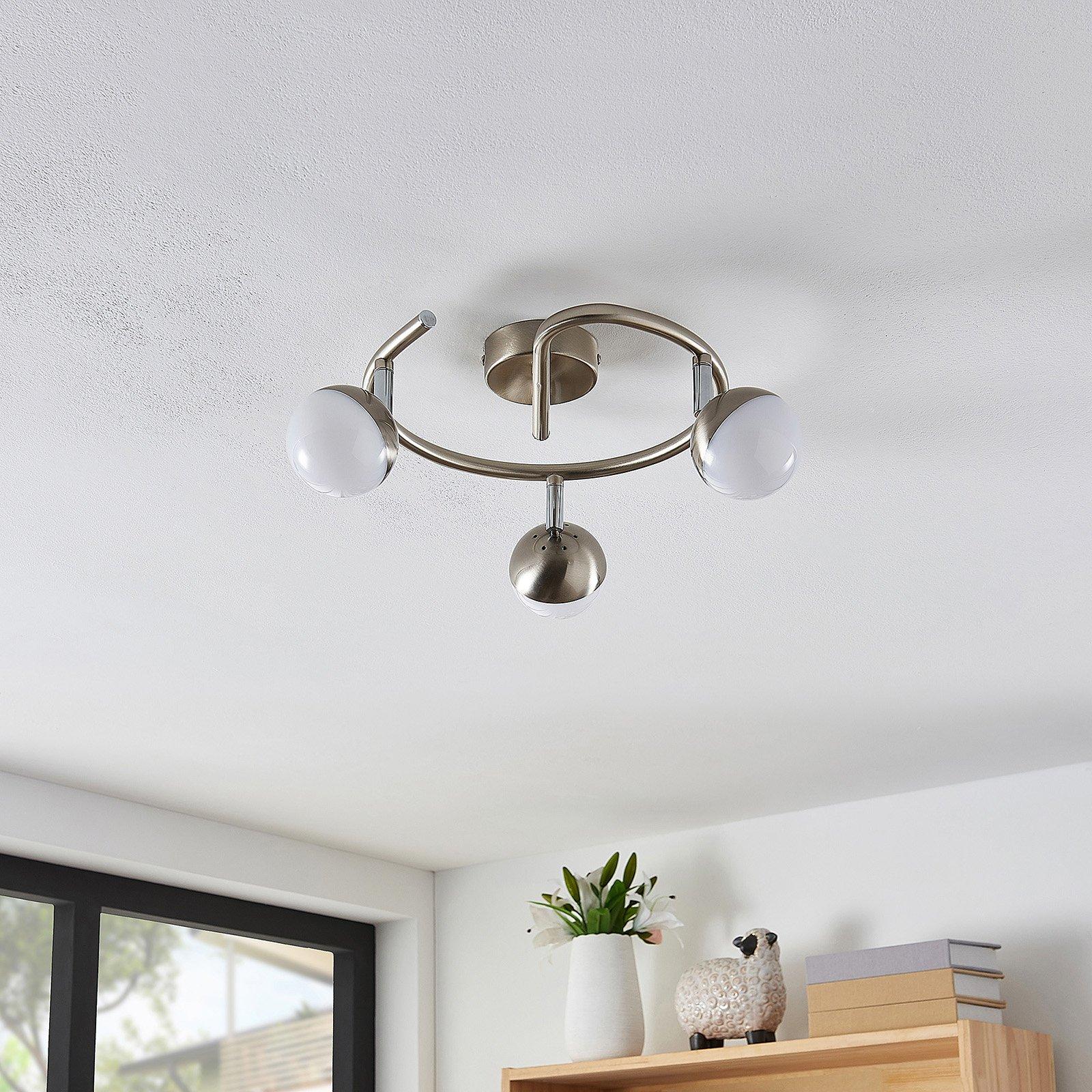 Lindby Lientje LED-taklampe, rund, 3 lyskilder
