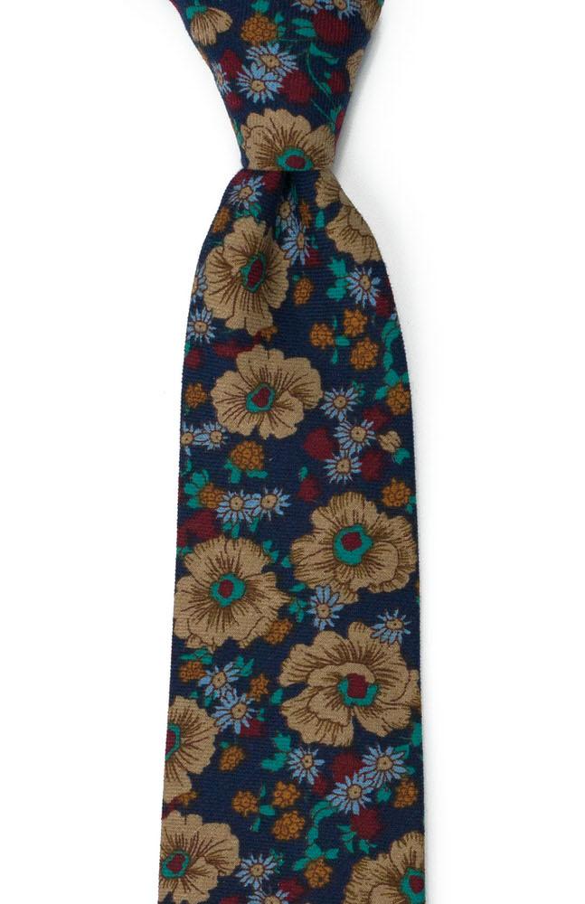 Bomull Slips, Multifarget, tett blomstermønster på marinblått, Blå, Blomster