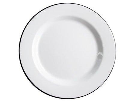 Basic Tallerken 24 cm Emalje Svart/Hvit