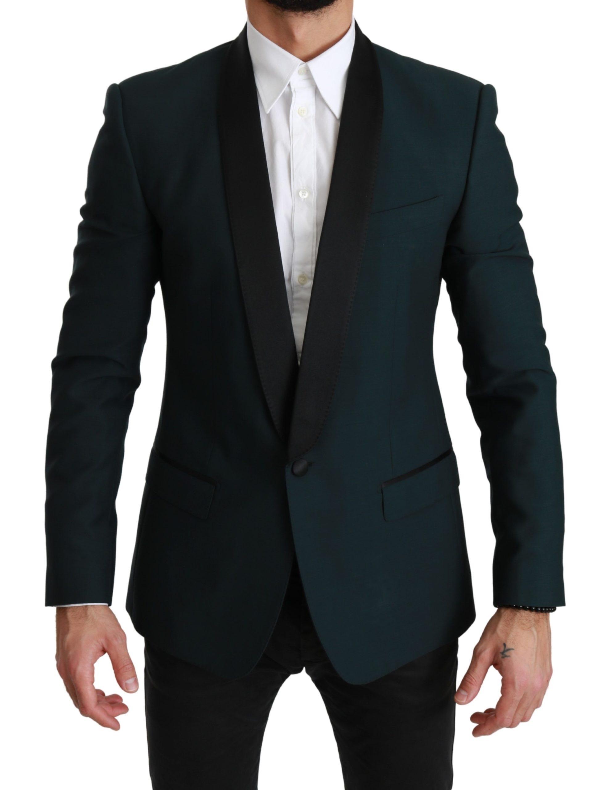 Dolce & Gabbana Men's Wool MARTINI Logo Blazer Green JKT2606 - IT48 | M