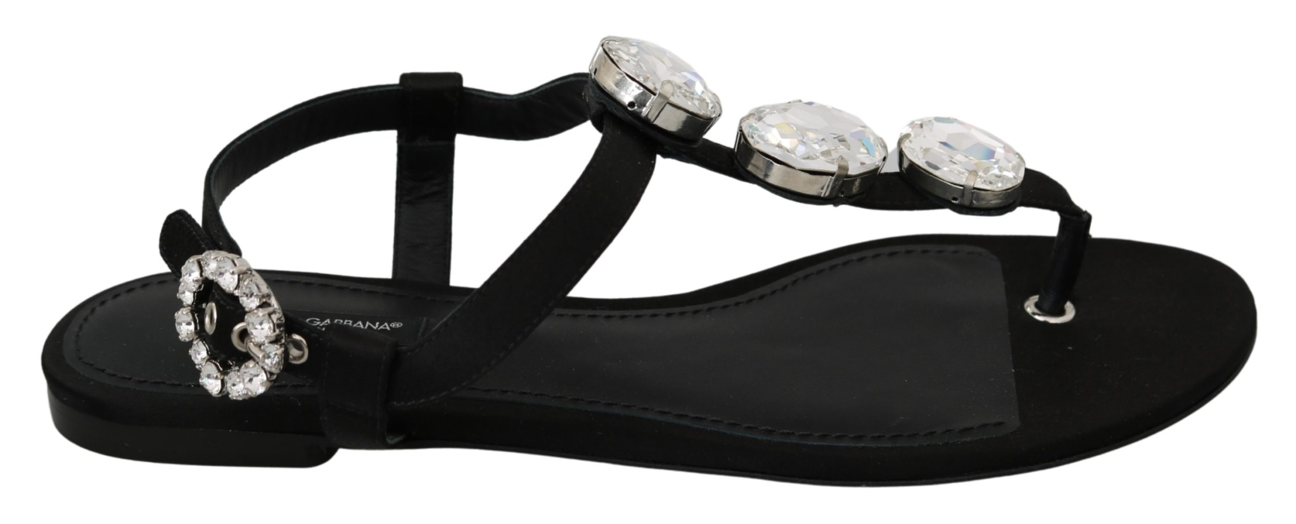 Dolce & Gabbana Women's Silk Crystal Sandal Black LA6888 - EU39/US8.5
