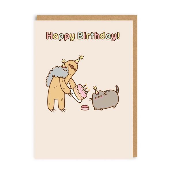 Pusheen Happy Birthday Sloth Greeting Card