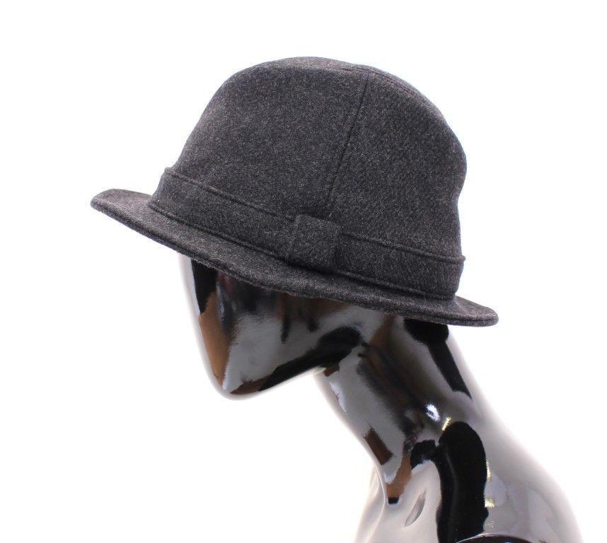 Dolce & Gabbana Women's Virgin Wool Logo Fedora Trilby Hat Gray HAT10212 - 57 cm|S