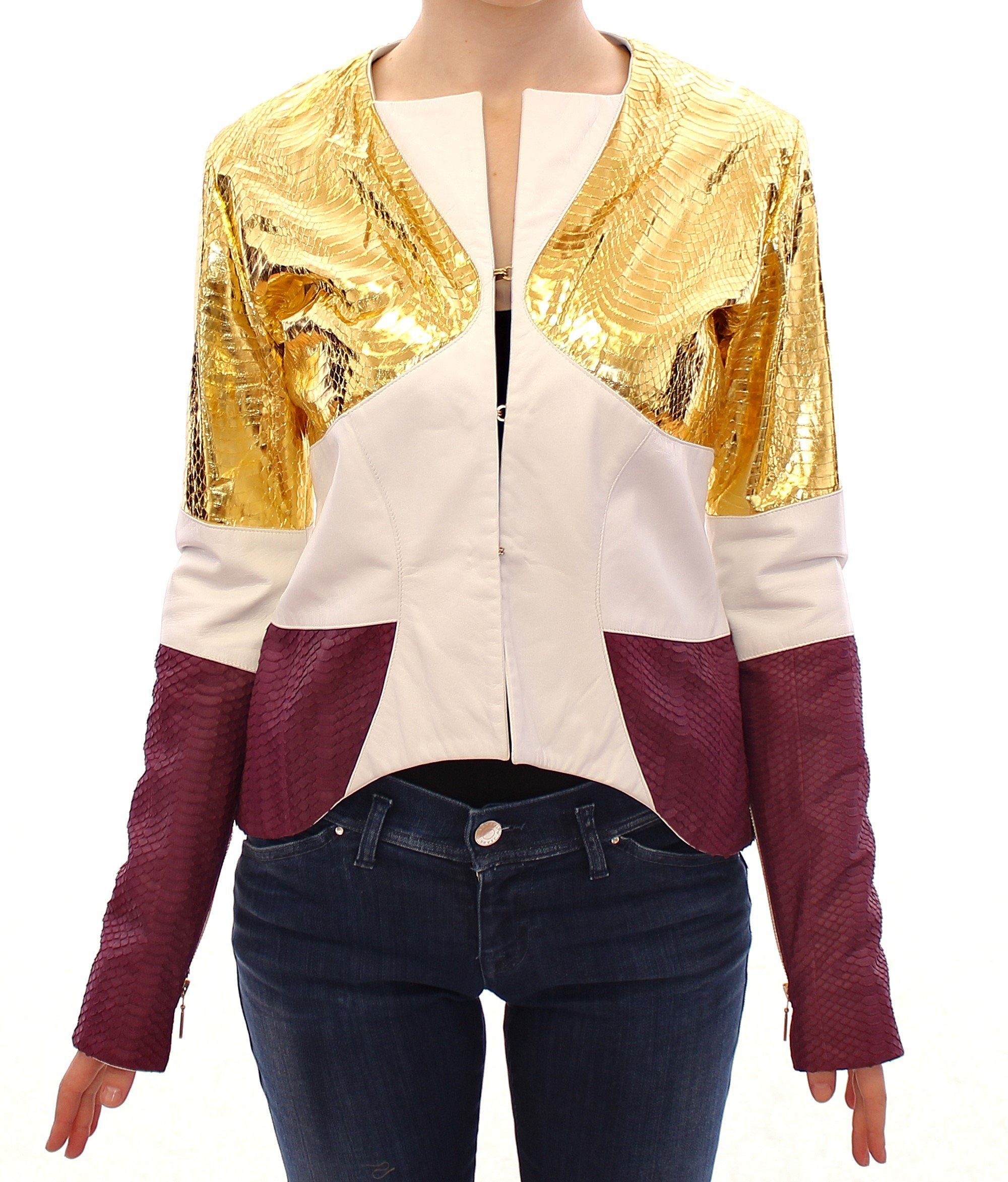Vladimiro Gioia Women's Leather Jacket White GSS10678 - IT40|S