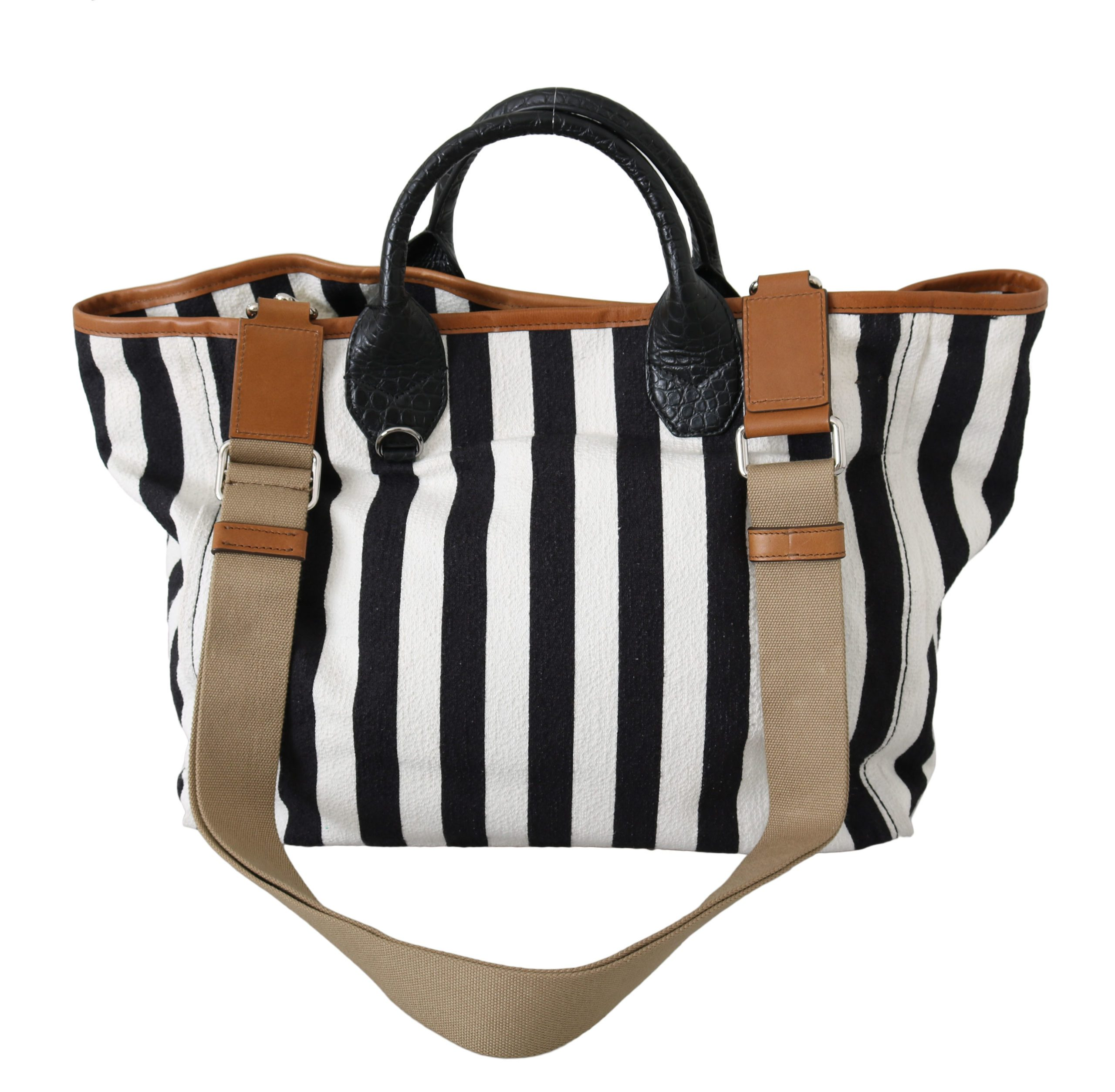 Black White Stripes Cotton Shopping Tote Borse Bag
