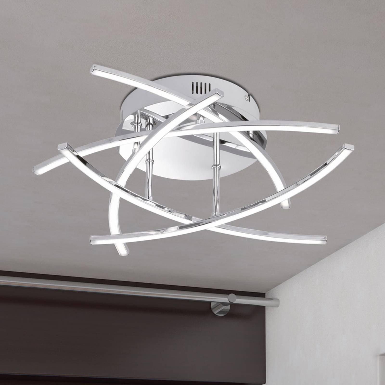 LED-taklampe Cross 5 lyskilder, krom