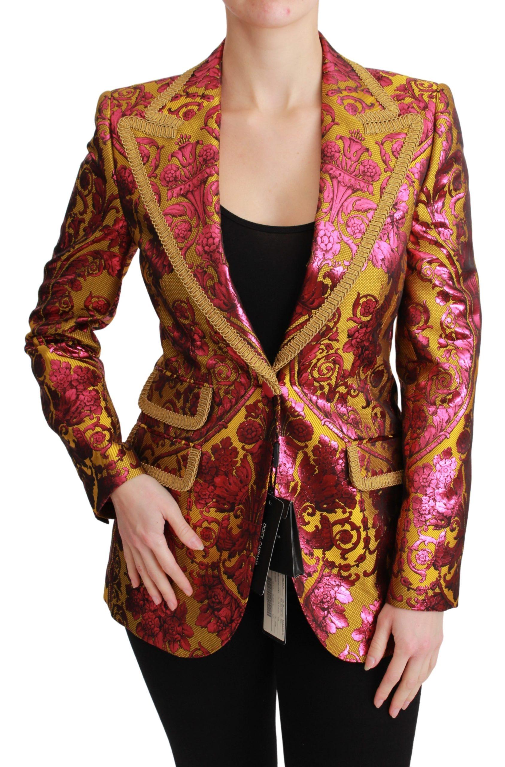 Dolce & Gabbana Women's Gold Jacquard Blazer Jacket Gold and Pink JKT2629 - IT36   XS