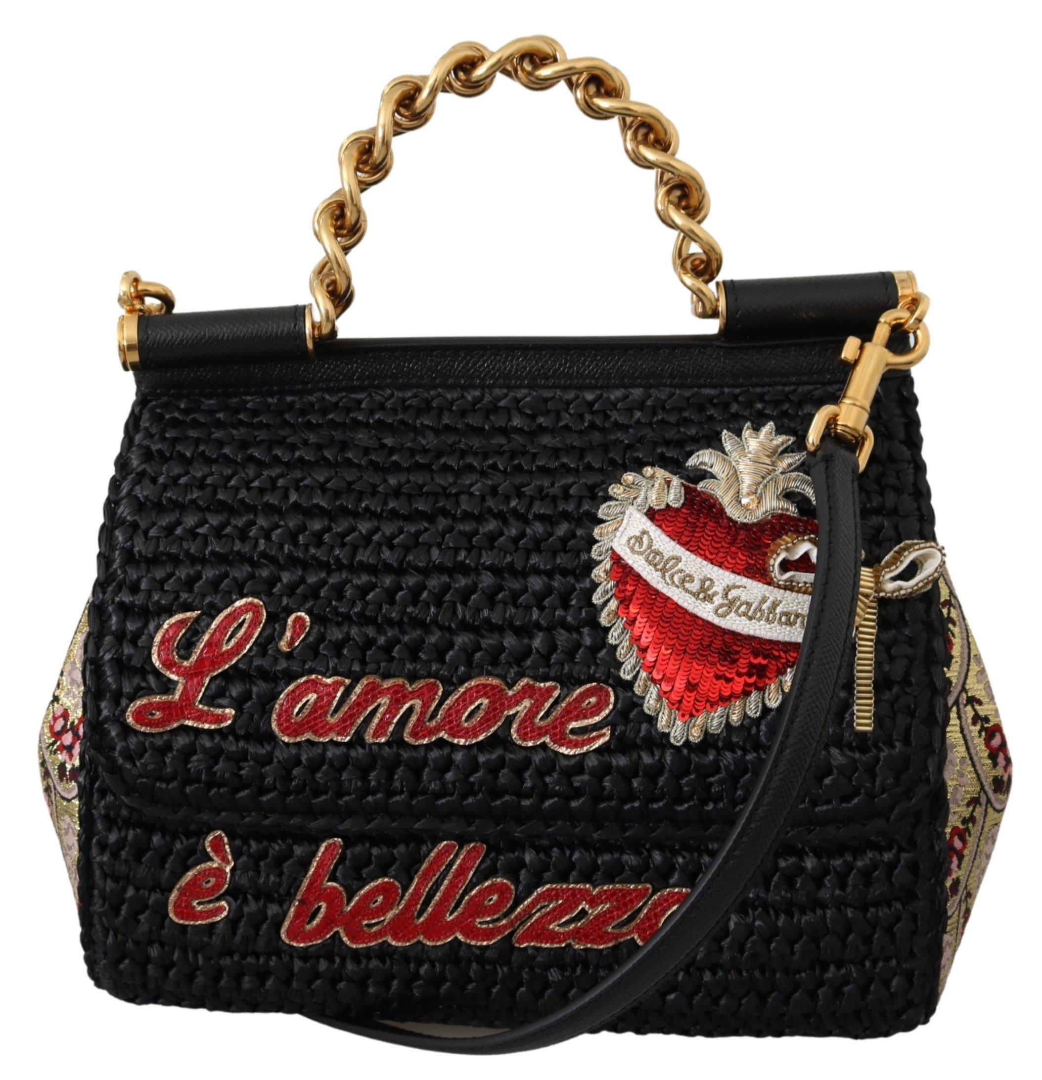 Dolce & Gabbana Women's Raffia L'amore e Bellezza Shoulder Bag Black VAS9842
