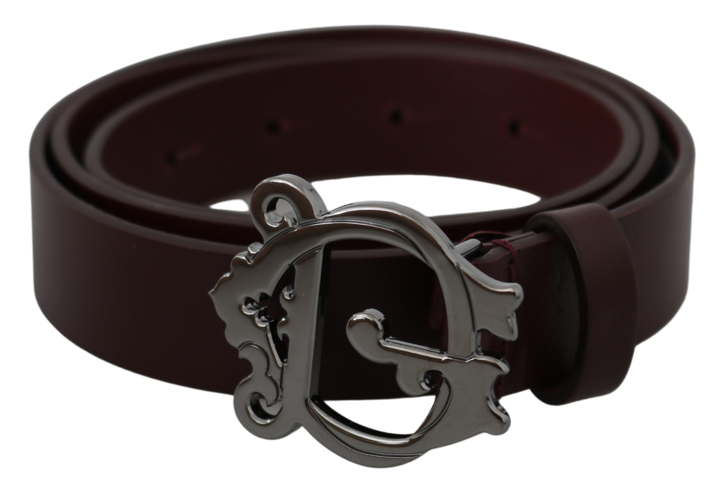 Brown Leather Silver Baroque DG Buckle Belt - 90 cm / 36 Inches