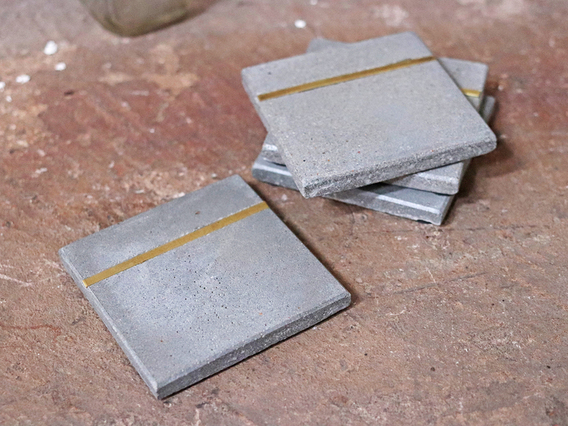 Set of 4 Cement and Brass Coasters