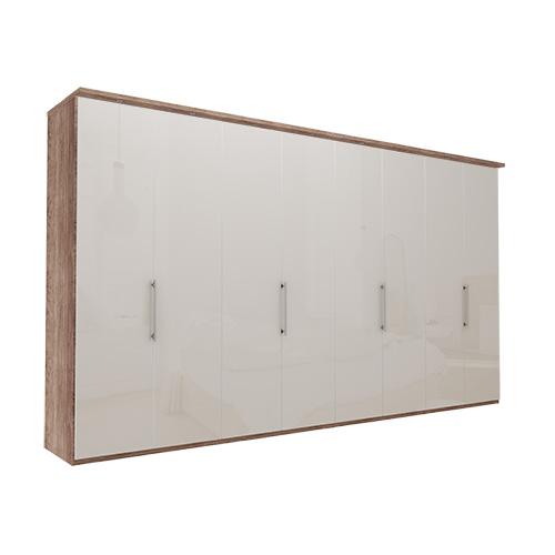 Garderobe Atlanta - Mørk rustikk eik 400 cm, 216 cm, Med gesims