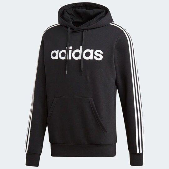 ADIDAS 3 Stripe Pullover Hoodie, Black