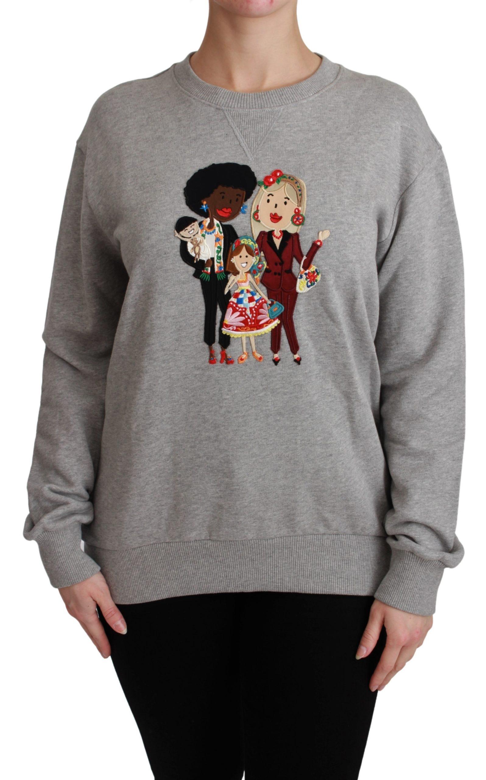 Dolce & Gabbana Women's #dgfamily Cotton Pullover Sweater Gray TSH4558 - IT38|XS