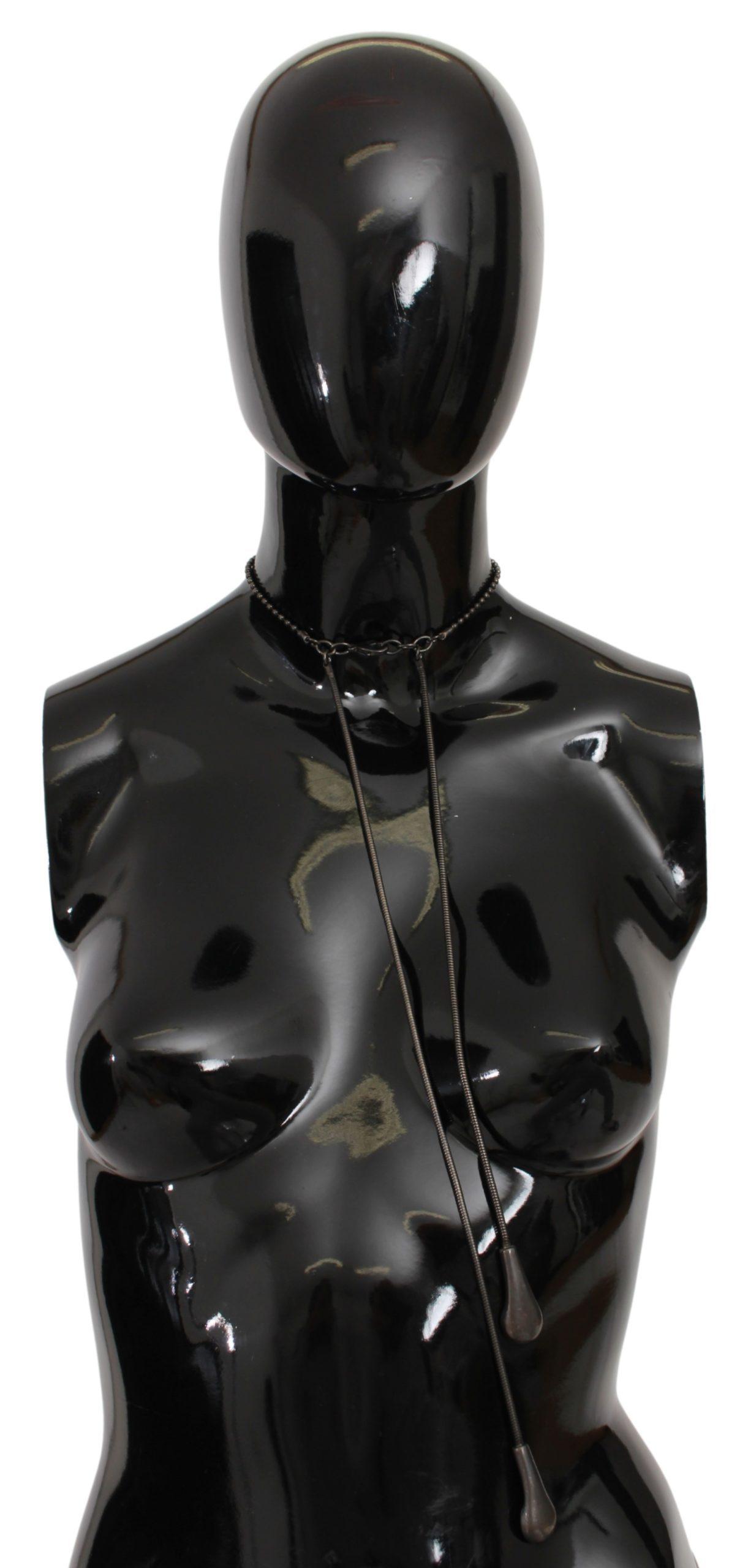 John Galliano Women's Steel Metal Style Necklace Black SMY7011