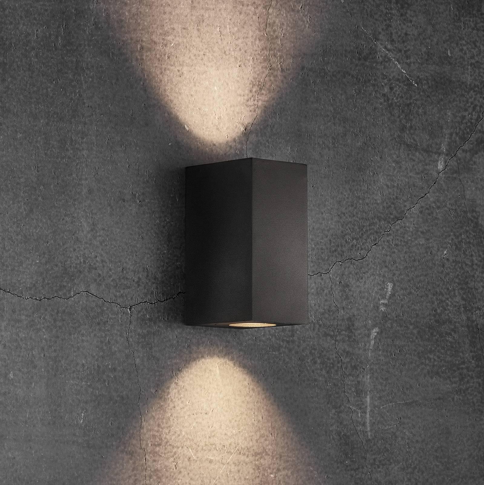 Ulkoseinävalaisin Canto Maxi Kubi 2, 17 cm, musta