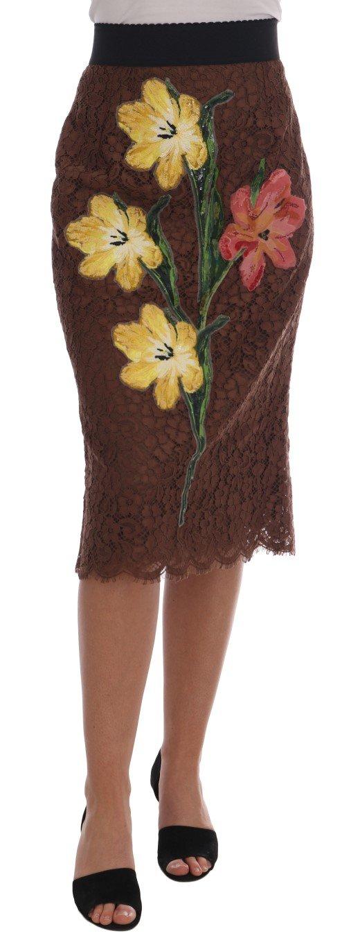 Dolce & Gabbana Women's Floral Lace Pencil Skirt Brown SKI1115 - IT46|XL
