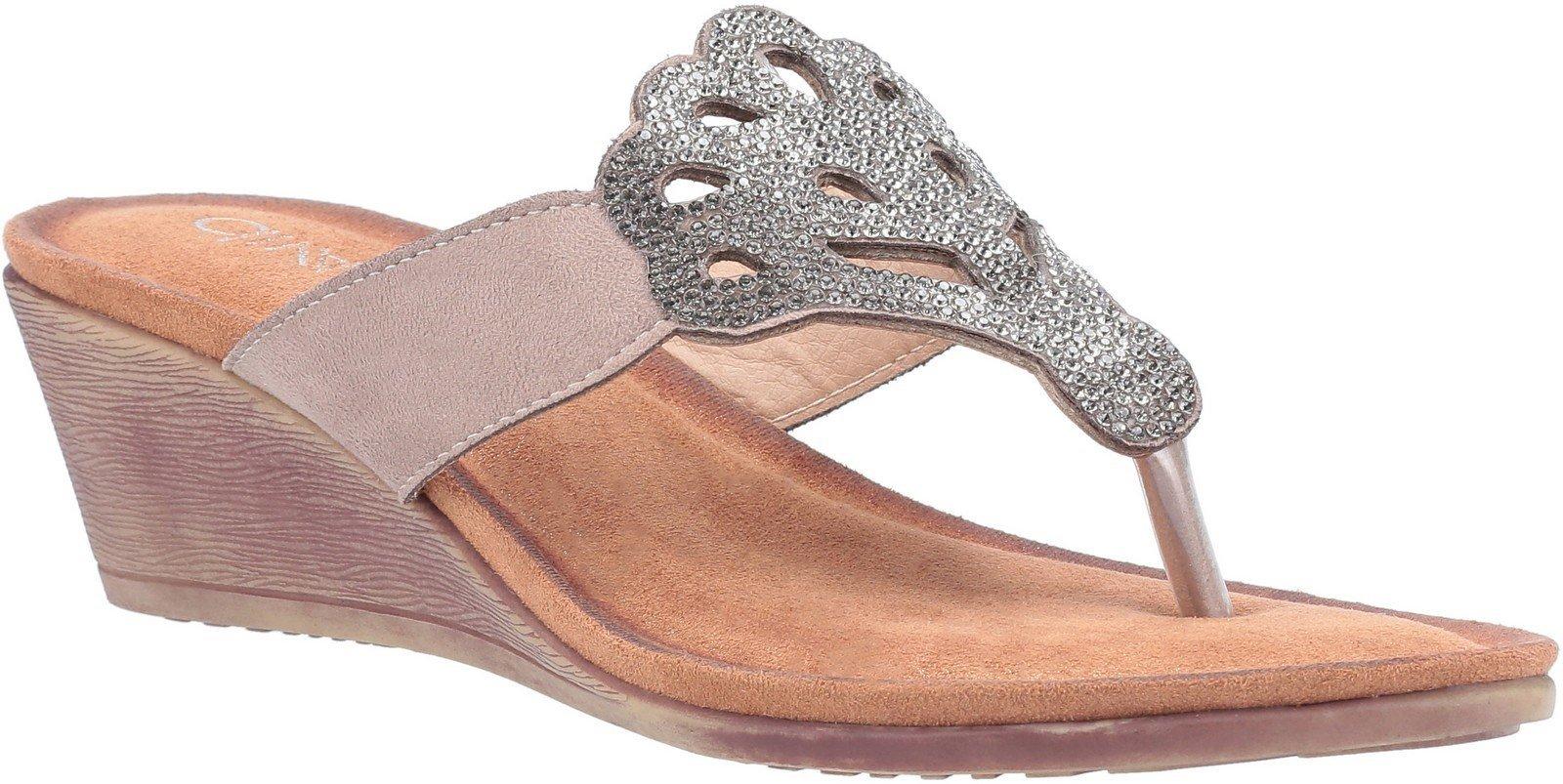 Divaz Women's Felicity Toe Post Sandal Various Colours 30123 - Grey 3