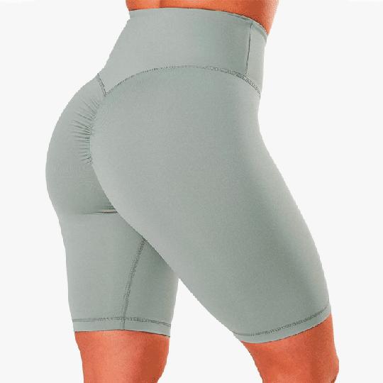 Scrunch V-Shape Biker Shorts, Silver Mist