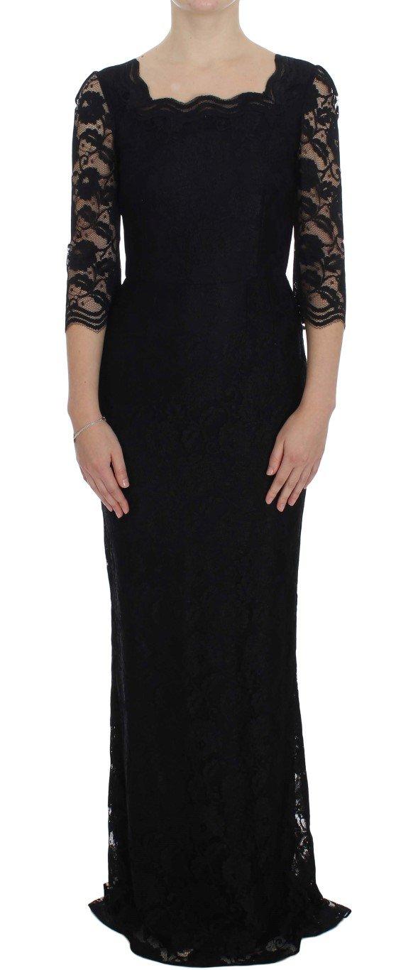 Dolce & Gabbana Women's Floral Lace Long Dress Black NOC10096 - IT40|S