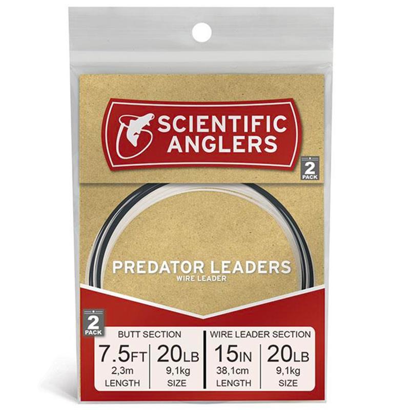 "SA Predator Leader 2pk 7.5' AR Tapered Leader w/15"" 20 lb Wire"