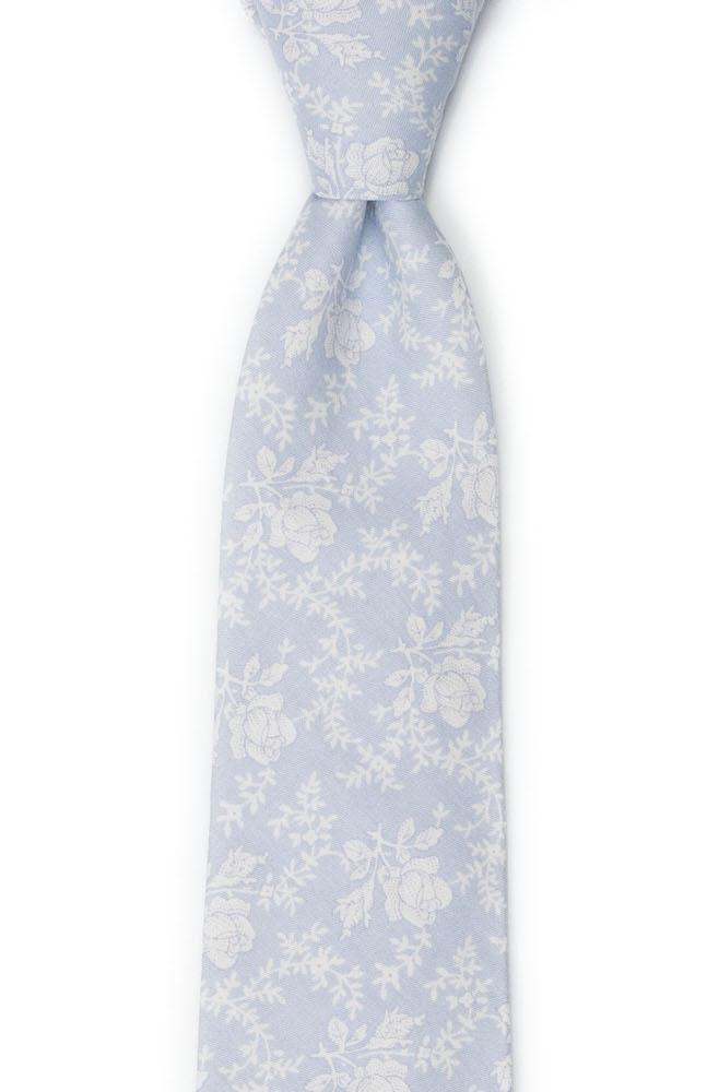 Bomull Slips, Hvite roser og vinranker på blekeste blått, Blå, Blomster