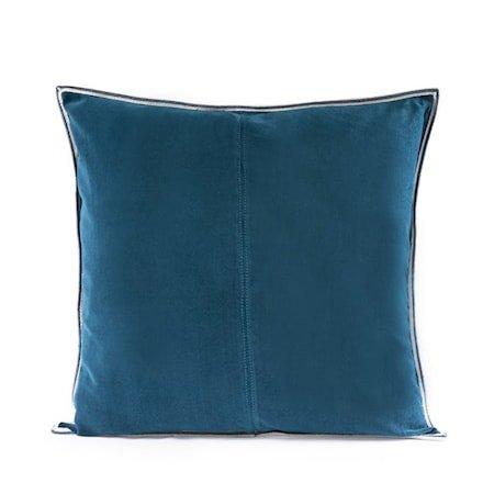 Putevar Navy Blue Striped Edge Velvet 50 x 50 cm