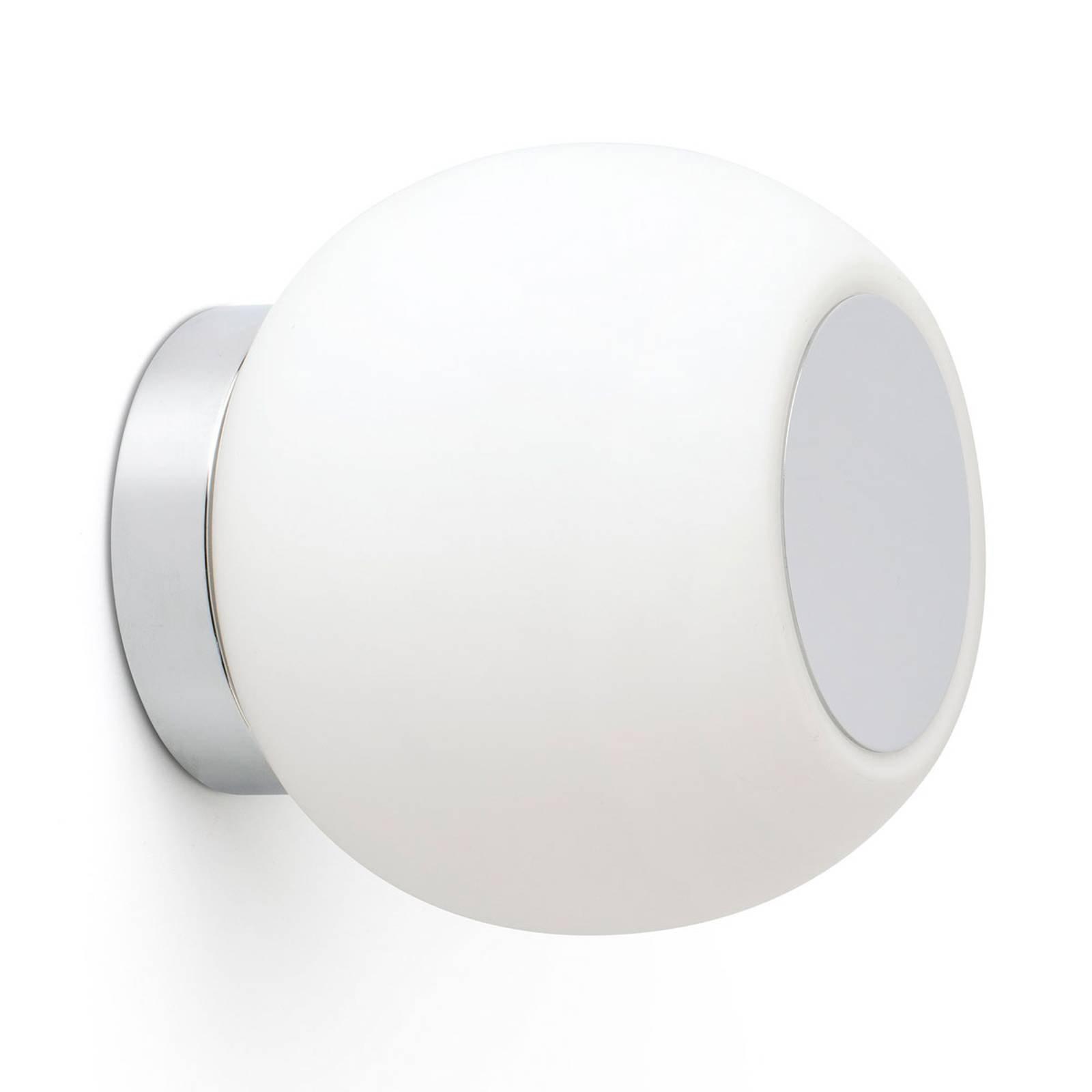 LED-vegglampe Moy i krom med glasskjerm
