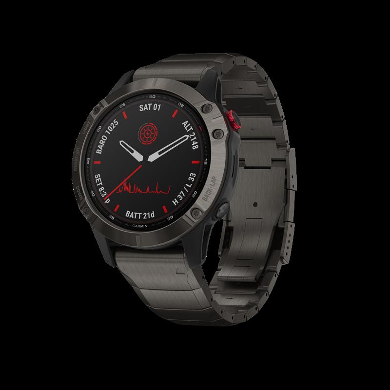 Garmin fenix® 6 Pro Solar Edition GPS-klokke, Skifergrå med svart rem