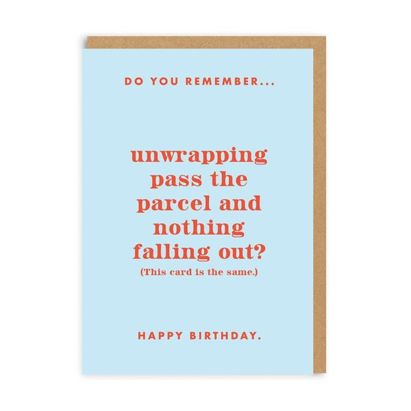 Do You Remember Pass The Parcel? Birthday Greeting Card