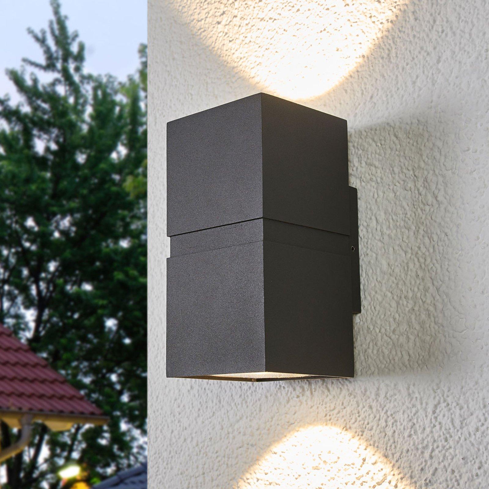 Mørkegrå, utendørs LED-vegglampe Gabriela, 2 lys