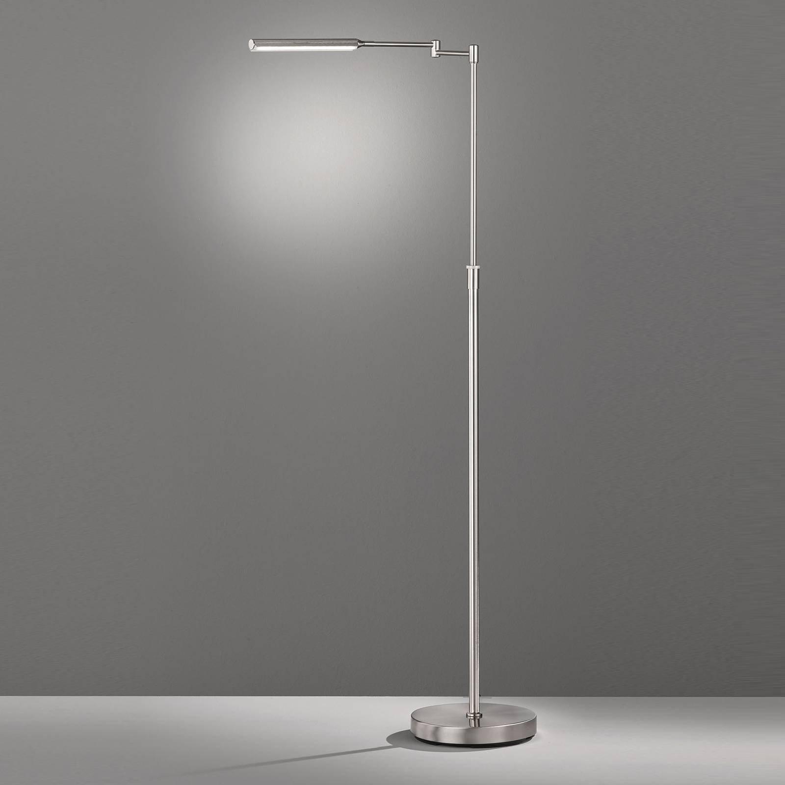 LED-gulvlampe Nami med fotdimmer, nikkelfarget