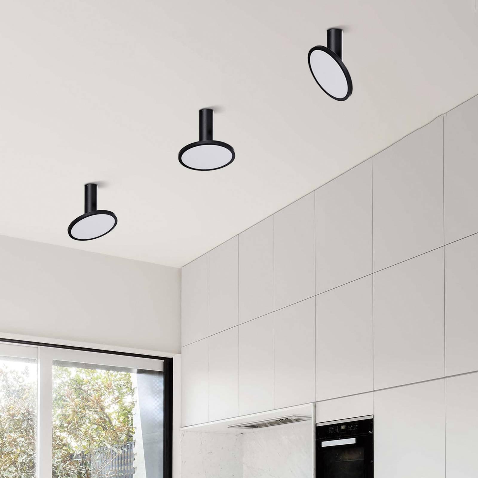 LED-taklampe Morgan, bevegelig, svart