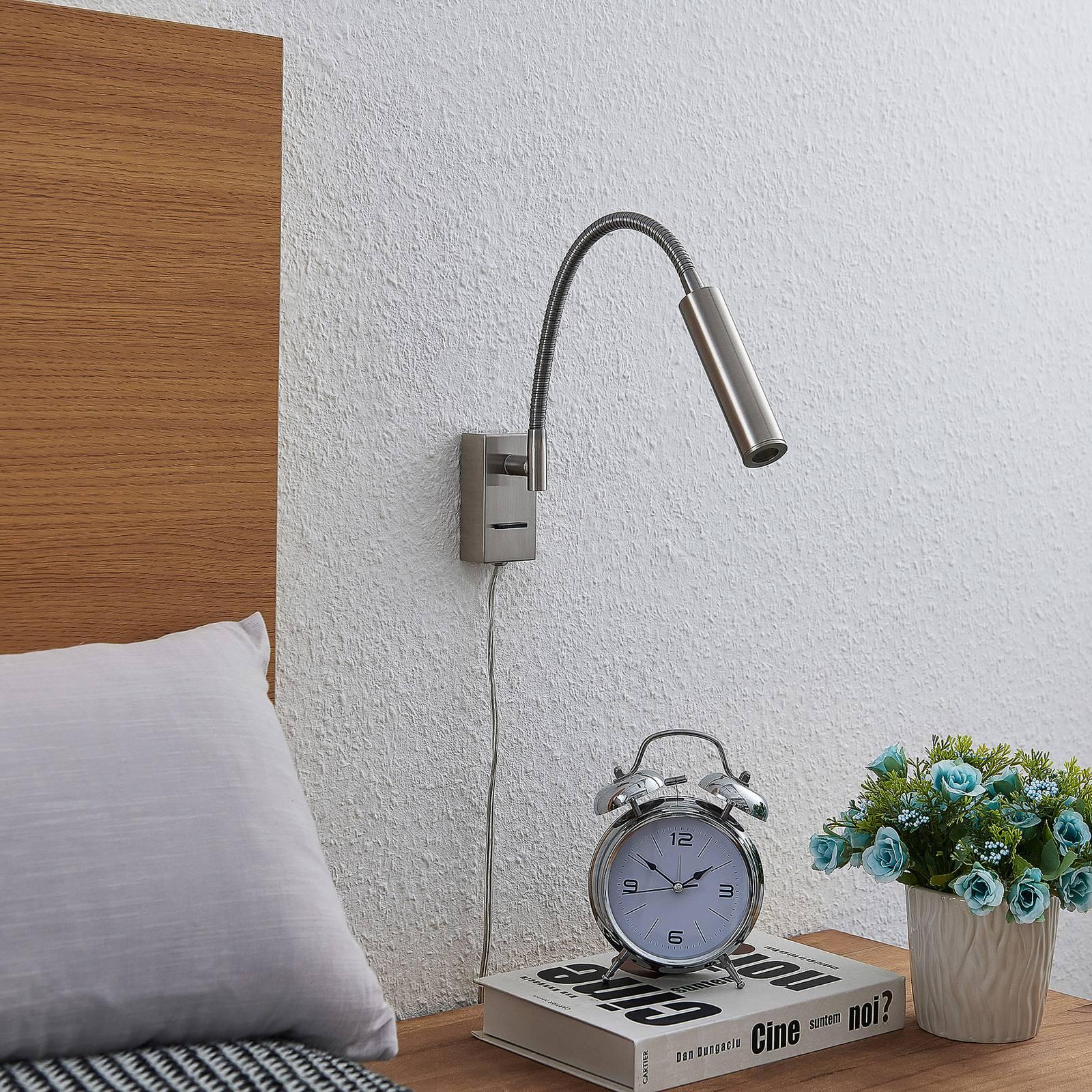 Lucande Anaella -LED-seinävalaisin nikkeliä, 47 cm