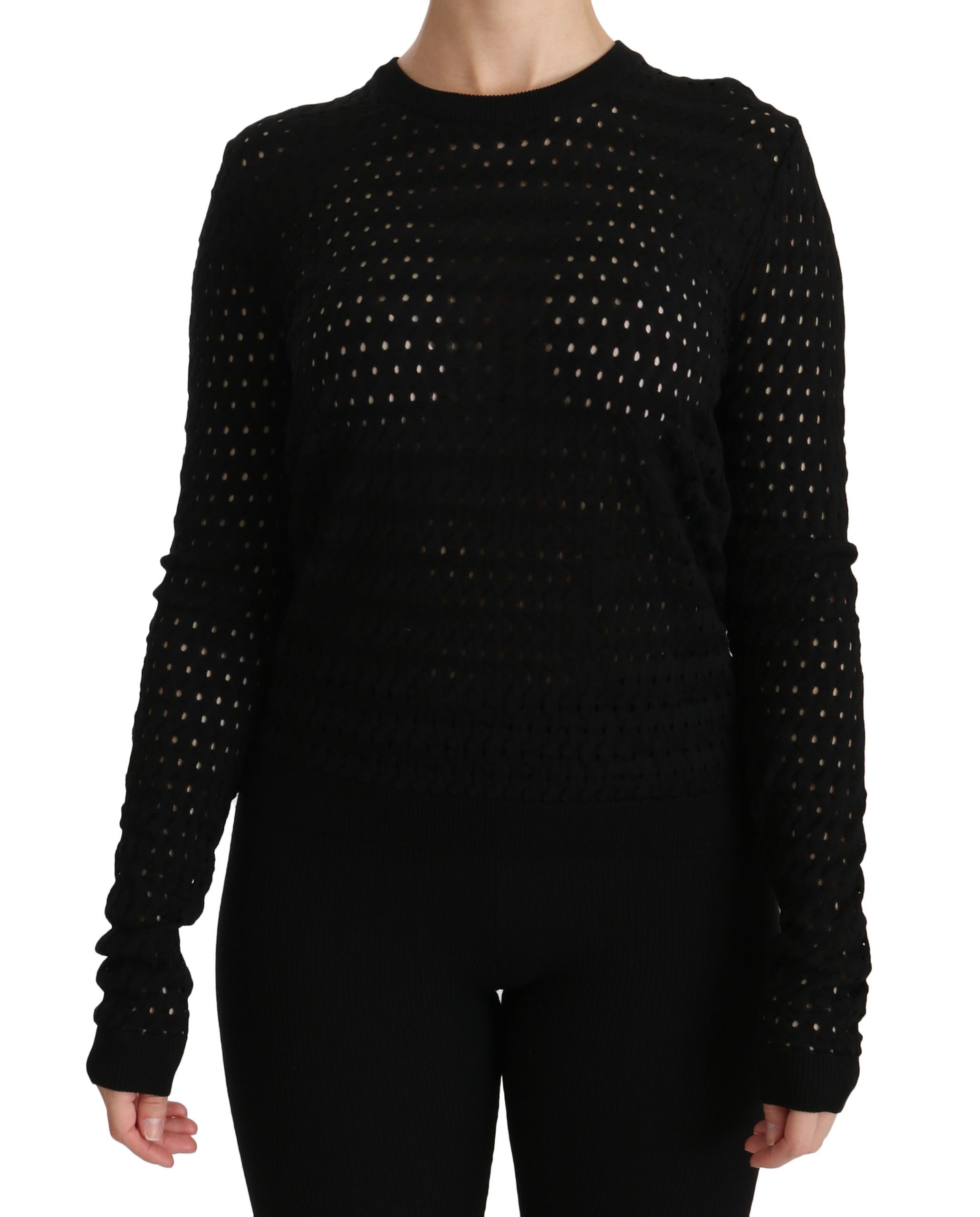 Dolce & Gabbana Women's Long Sleeve Top Black TSH4257-40 - IT40 S
