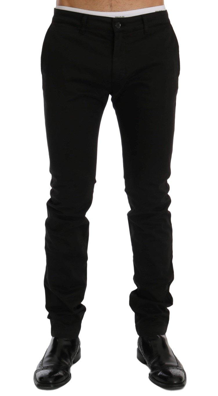 GF Ferre Men's Cotton Stretch Chinos Trouser Black SIG60461 - IT54 | XXL