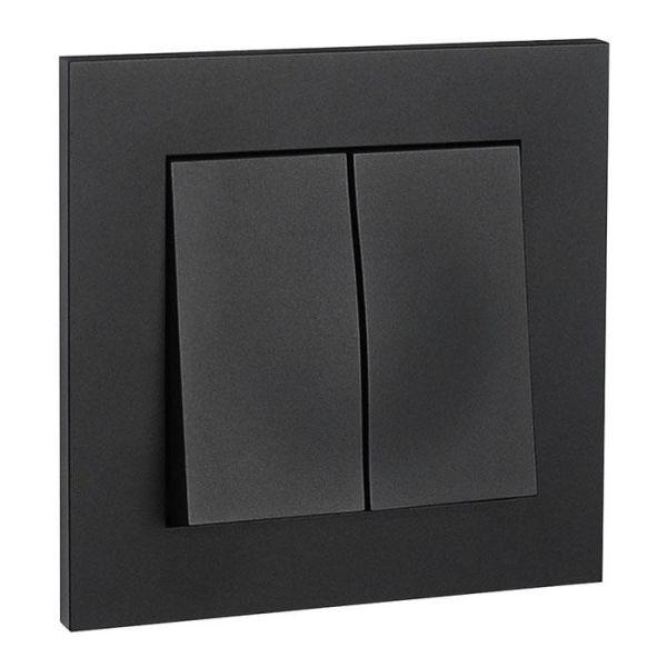 Elko Plus Strømbryter innfelt, krone, svart